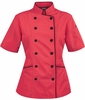 Tailored Chef Coat -  Rich Coral w/Black