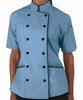 Tailored Chef Coat - Sky Blue w/Black