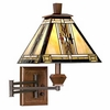 Walnut Mission Plug-In Swing Arm Wall Lamp