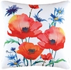 "Poppies 18"" Square Throw Pillow"