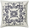 "White & Steel Blue 18"" Throw Pillow"
