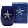 Silver Starfish Icon Candle in Blue Glass