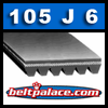 "105J6 POLY-V Belt. 10.5"" Length, 6 Ribs (9/16"" Wide). Metric PJ267 Poly V."