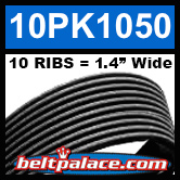 10PK1050 Automotive Serpentine (Micro-V) Belt: 1050mm x 10 RIBS. 1050mm Effective Length.