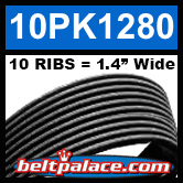 10PK1280 Automotive Serpentine (Micro-V) Belt: 1280mm x 10 RIBS. 1280mm Effective Length.