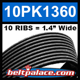 10PK1360 Automotive Serpentine (Micro-V) Belt: 1360mm x 10 RIBS. 1360mm Effective Length.