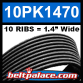 10PK1470 Automotive Serpentine (Micro-V) Belt: 1470mm x 10 RIBS. 1470mm Effective Length.