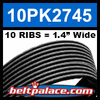 10PK2745 Automotive Serpentine (Micro-V) Belt. EPDM Construction.