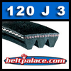 120J3 Poly-V Belt, Metric 3-PJ305 Motor Belt.