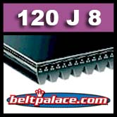 120J8 Poly-V Belt, Standard Duty Metric 8-PJ305 Motor Belt.