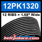 "12PK1320 Automotive Serpentine (Micro-V) Belt: 1320mm x 12 ribs. 50.2"" (1320mm) Effective Length."