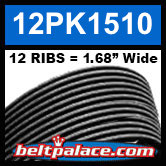 "12PK1510 Automotive Serpentine (Micro-V) Belt: 1510mm x 12 ribs. 50.2"" (1510mm) Effective Length."