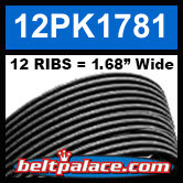 "12PK1781 Automotive Serpentine (Micro-V) Belt: 1781mm x 12 ribs. 50.2"" (1781mm) Effective Length."