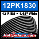 "12PK1830 Automotive Serpentine (Micro-V) Belt: 1830mm x 12 ribs. 50.2"" (1830mm) Effective Length."