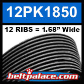 "12PK1850 Automotive Serpentine (Micro-V) Belt: 1850mm x 12 ribs. 50.2"" (1850mm) Effective Length."
