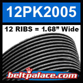 "12PK2005 Automotive Serpentine (Micro-V) Belt: 2005mm x 12 ribs. 50.2"" (2005mm) Effective Length."