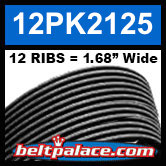 "12PK2125 Automotive Serpentine (Micro-V) Belt: 2125mm x 12 ribs. 50.2"" (2125mm) Effective Length."