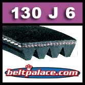 130J6 Poly-V Belt (Standard Duty), Metric 6-PJ330 Motor Belt.