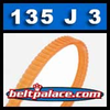 135J3 Poly-V Belt, Metric 3-PJ343 Motor Belt.