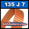 135J7 Poly-V Belt, Industrial Grade. Metric 7-PJ406 Drive Belt.