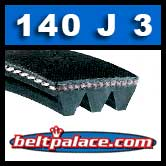 140J3 Poly-V Belt, Metric 3-PJ356 Motor Belt.