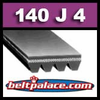 140J4 Poly-V Belt (Standard Duty), Metric 4-PJ356 Motor Belt.
