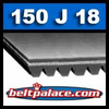 150J18 Industrial Poly-V Belt, Metric 18-PJ381 Drive Belt.