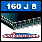 160J8 Poly-V Belt (Micro-V), Industrial Grade Metric 8-PJ406 Motor Belt.