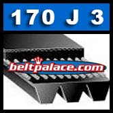 170J3 Poly-V Belt, Metric 3-PJ432 Motor Belt.