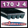 170J4 Poly-V Belt (Standard Duty), Metric 4-PJ432 Motor Belt.