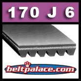 170J6 Poly-V Belt (Standard Duty). Metric 6-PJ432 Motor Belt.