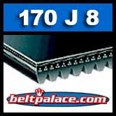 170J8 Poly-V Belt, Industrial Grade Metric 8-PJ432 Drive Belt.