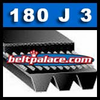 180J3 Poly-V Belt, Industrial Grade Metric 3-PJ457 Motor Belt.