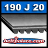 190J20 Poly-V Belt, Metric 20-PJ483 Motor Belt.