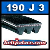 190J3 Poly-V Belt, Metric 3-PJ483 Motor Belt.
