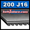 200J16 Poly V Belt, Metric belt 16PJ508.