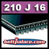 210J16 Poly-V Belt, Standard Duty. Metric 16-PJ533 Drive Belt.