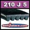 210J5 Poly-V Belt (Standard Duty), Metric 5-PJ533 Motor Belt.