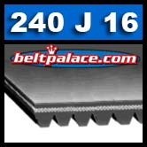 240J16 Poly-V Belt, Metric 16-PJ610 Drive Belt.