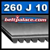 260J10 Poly-V Belt, Industrial Grade. Metric belt 10PJ660.