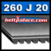 "260J20 Poly-V Belt (Micro-V): Metric PJ660 Motor Belt. 26"" L, 20 Ribs."
