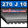 "270J10 Poly-V Belt. 27"" (686mm) Length, 10 Ribs (15/16"" Wide). Metric Belt 10PJ686."