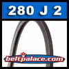 280J2 Poly-V Belt, Metric 2-PJ711 Motor Belt.