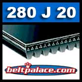 280J20 Poly-V Belt, Metric 20-PJ711 Motor Belt.
