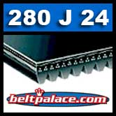 280J24 Poly-V Belt, Metric 24-PJ711 Motor Belt.