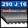 "290J16 Belt, 290-J16 Poly-V Belts (Micro-V): J Section, Metric PJ737 Motor Belt. 29"" (737mm) Length, 16 Ribs."
