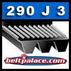 "290J3 Belt, 290-J3 Poly-V Belts: J Section, Metric PJ737 Motor Belt. 29"" (737mm) Length, 3 Ribs."