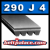 "290J4 Belt, 290-J4 Poly-V Belts: J Section, Metric PJ737 Motor Belt. 29"" (737mm) Length, 4 Ribs."