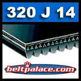 320J14 Poly-V Belt, Metric 14-PJ813 Motor Belt.