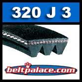 320J3 Poly-V Belt, Industrial Grade Metric 3-PJ813 Motor Belt.